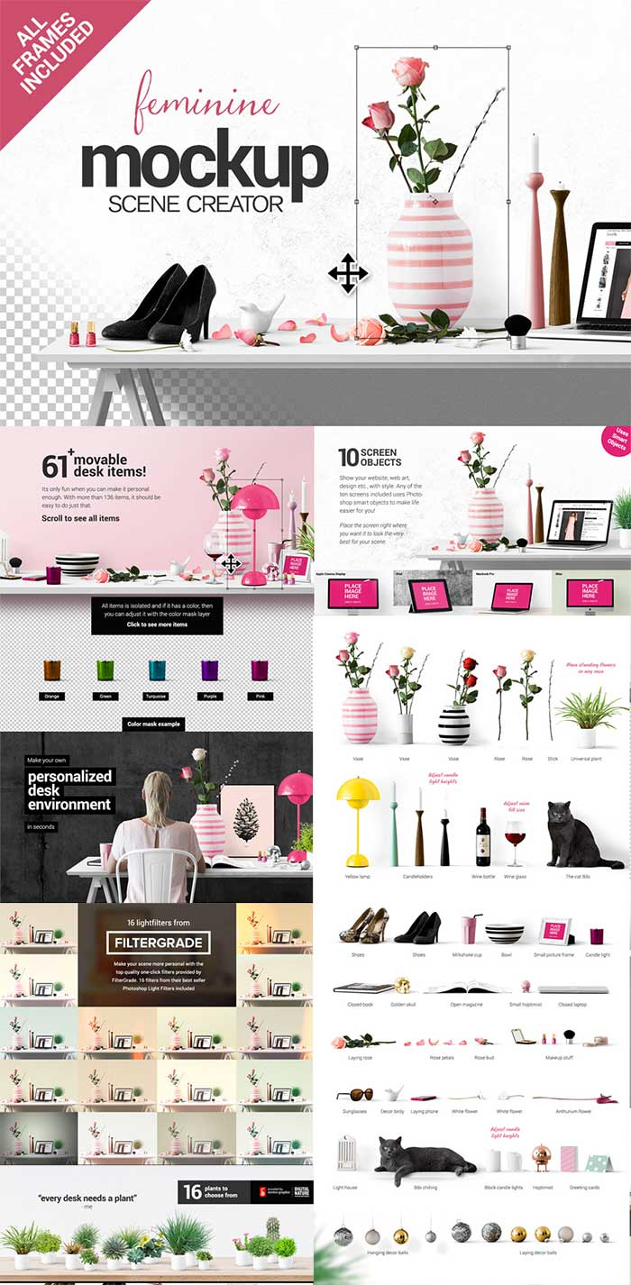Create your own feminine styled scene – in seconds! Get it as part of the Amazing design bundle with 1000's of items for just $29!!
