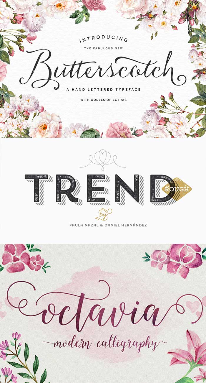 Butterscotch Typeface by Nicky Laatz, Trend Rough Family by Latinotype and Octavia Script by AF Studio. Get them as part of the Amazing design bundle with 1000's of items for just $29!!