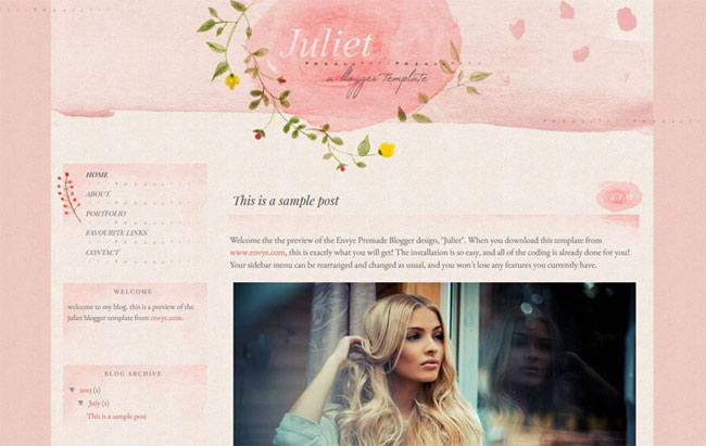 The Juliet Blogger template. See more watercolor themes and templates at DesignYourOwnBlog.com