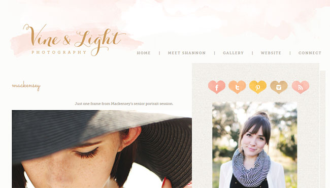 Vine & Light uses very soft splashes of watercolor in her header and cute watercolor heart-shaped social media icons.