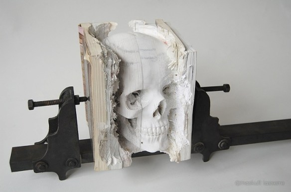 Lasserre Skull 1 Skull Carved from Books