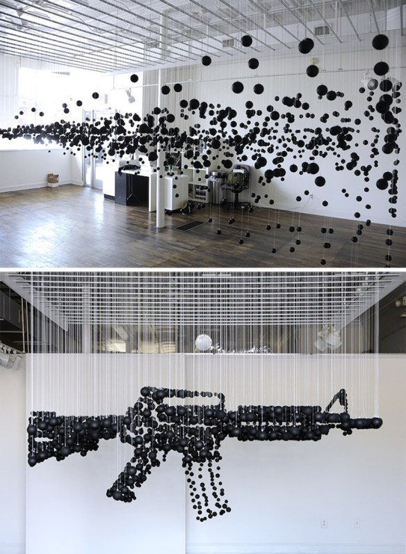 michaelmurphy 1200 Black Ping Pong Balls Form a Deadly Assault Rifle