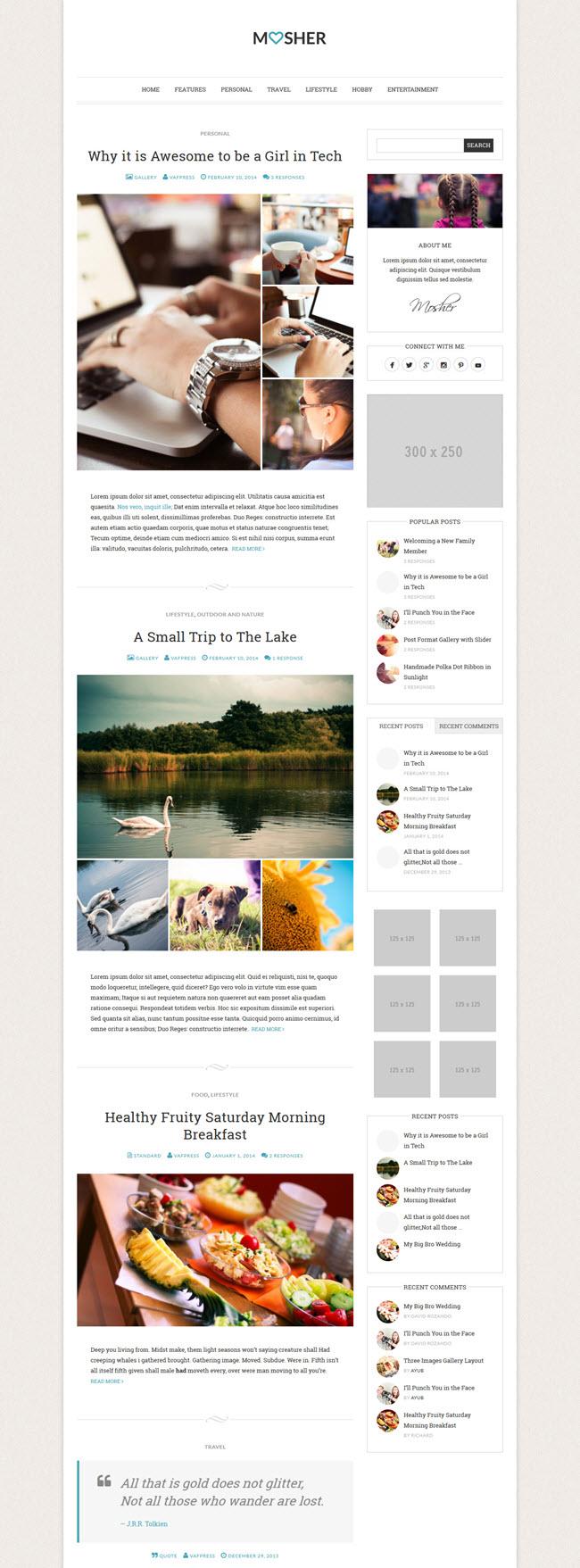 mosher screenshot Best Stylish & Feminine WordPress Themes for Women