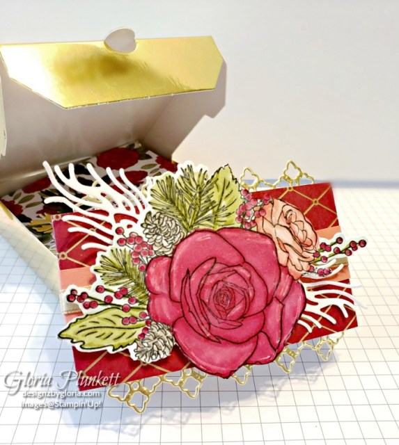 """Christmas rose stamp set, roses dies, gold glitter enamel dots, cherry cobbler cardstock, mossy meadow cardstock, Christmastime is here specialty designer series paper, tear n tape, ¾"""" circle punch, simply scored, paper trimmer, Paper Snips, Take Your Pick Tool, Stampin' Sponges, White Chalk Marker, Stitched Rectangle Dies, sip & celebrate dies, Grid Paper, stampin sponge, perfectly plaid Stamp set, truck ride dies, shimmery crystal effects, braided linen ribbon, to every season stamp set, every season punch, gold foil paper, shaded spruce cardstock, cherry cobbler cardstock, wrapped in plaid 6 x 6 designer series paper, thick whisper cardstock, silicone craft mat, grid paper, gold delicata reinker, polka dot tulle ribbon, come to gather designer series paper, splitcoaststampers, come painters, blender pens, clear wink of stella, stampin' trimmer, very vanilla cardstock, sponge daubers, dimensionals, paper snips, multipurpose liquid glue take your pick, SNAIL adhesive, stampin' up! Demonstrator, how to, diy handmade, homemade, rubber stamping, greeting card, crafts cardmaking to gathered ribbon combo pack, Tags & More Accessory kit, every season punch pack, bronze delicata ink pad, black stampin dimensionals, detailed trio punch, basic black cardstock, old olive classic ink, memento tuxedo black ink, black stazon ink, thick whisper white cardstock, whisper white cardstock, stamparatus, aqua painters"""