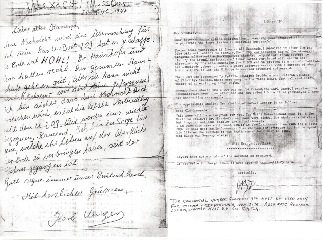 Nazi letter document for hollow earth