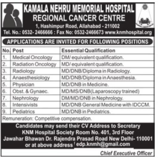 Specialist doctors at reginal Cancer center, Allahabad