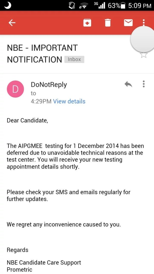 AIPGMEE 2015 Exam Differed due to technical reasons