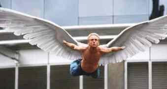 FX-1 Angel (Ben Foster) takes flight.