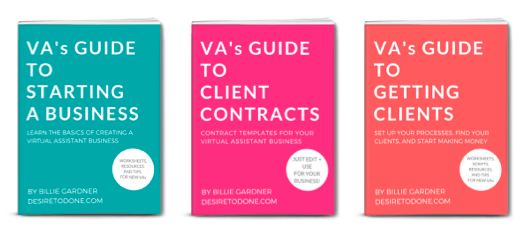 VA Beginner Bundle - Start your virtual assistant business off on the right foot! Learn how to set your business up for success, create your contract, and get clients fast!