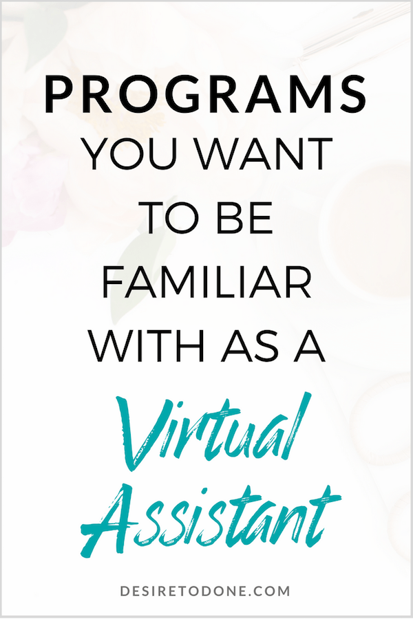 If you're thinking of starting a virtual assistant business, you're probably wondering what programs you should be familiar with. Here are the programs I use the most, and why knowing a bunch of programs isn't the most important part of being a good VA.