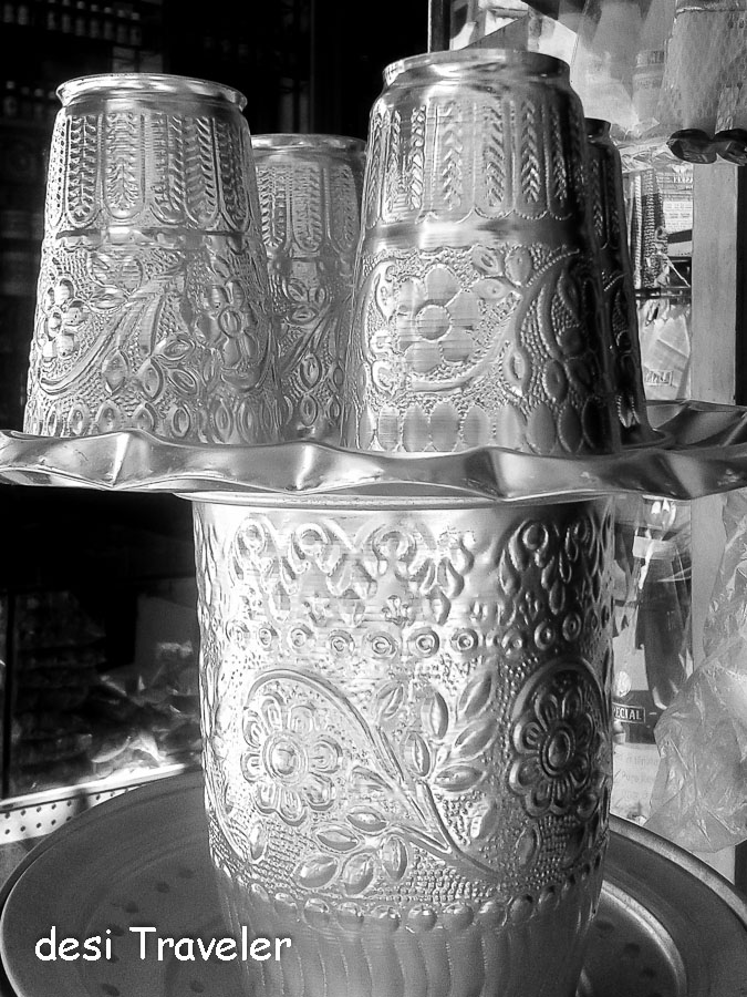 steel glasses with islamic art
