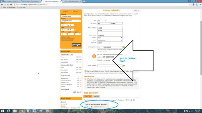 Tigerair website reveiw