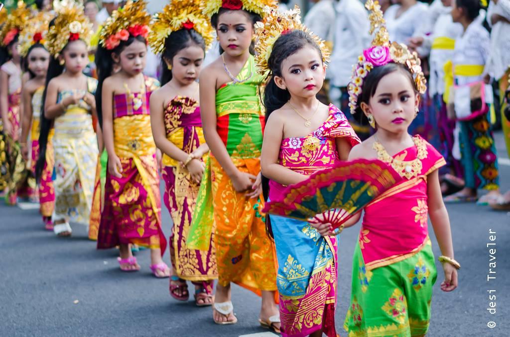 Hindu Temple Festival Parade Sukawati Bali Indonesia