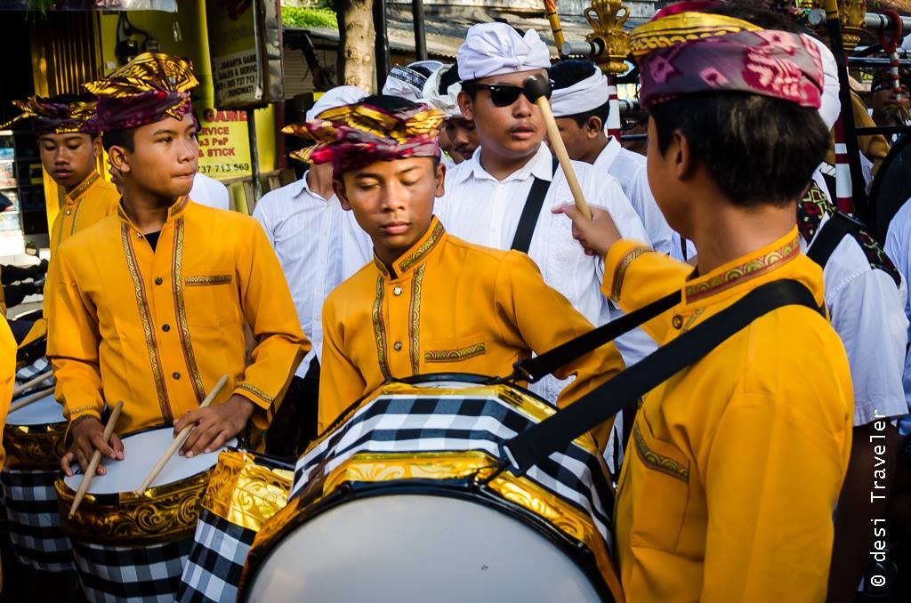 Music Band with Hindu Temple Parade Bali Indonesia