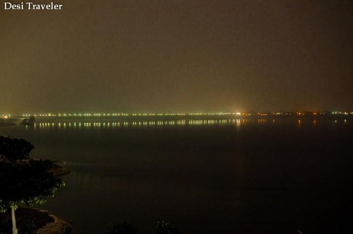 Reflections of Lights from Nagarjuna Sagar Dam