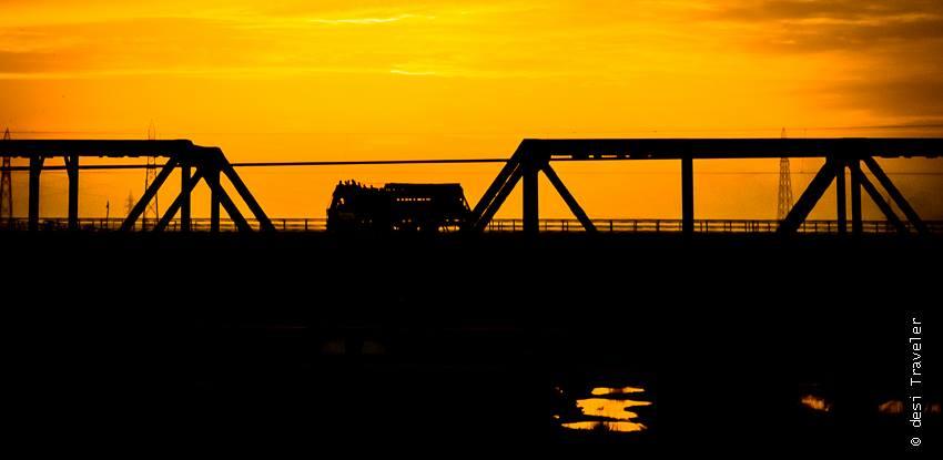 Truck sunset silhouette Delhi Shimla Road Trip