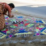 Rangoli For Sankranti Celebrations in Bhoodan Pochampally Village