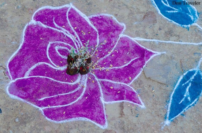 Traditional Village Rangoli design with flowers