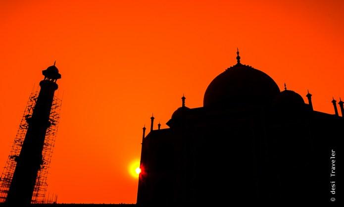 Sunset Taj Mahal Silhouette