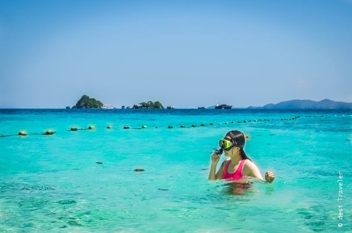 Woman snorkeling Koh Chang Thailand Waters