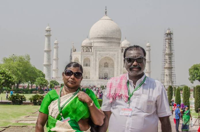 South Indian couple at Taj Mahal Agra