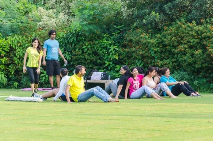 Yoga Session Blogchatter Retreat Taj Gateway Resort Damdama Gurgaon