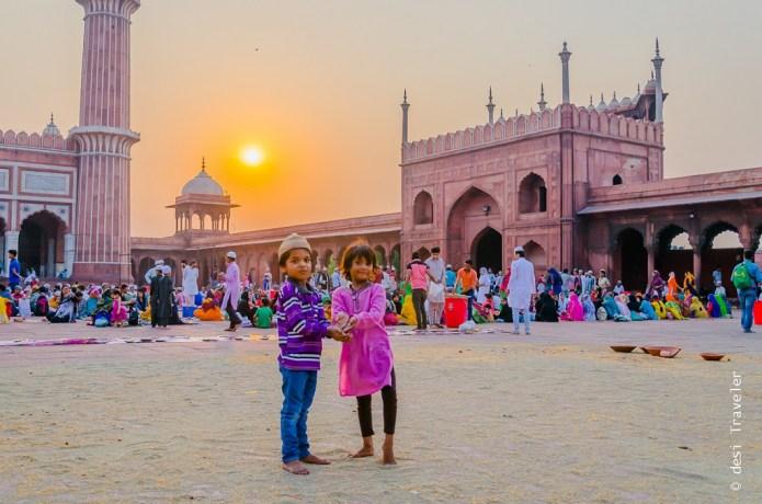 Kids playing Jama Masjid Delhi Ramazan Iftar