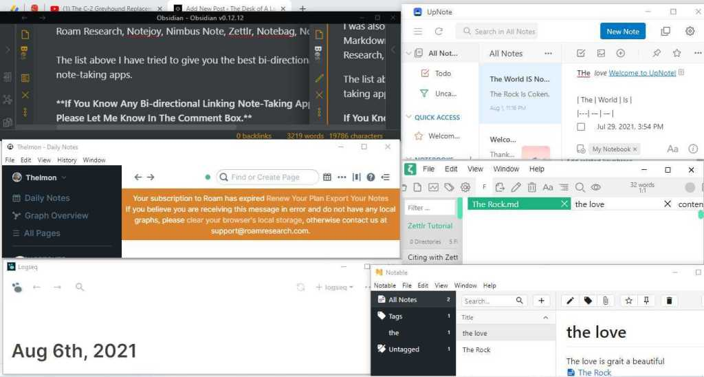 Bi-directional Linking Note-Taking Apps