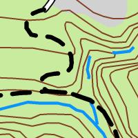 Pistas, carreteras y ríos dibujados con simbología convencional