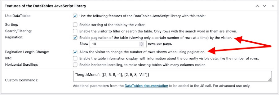 Settings panel for the DataTables JavaScript library features emphasising the Pagination-enable option and the option to allow visitors to change the number of rows shown