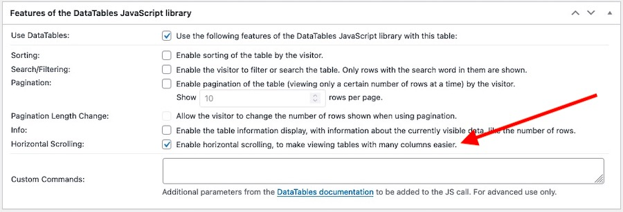 Settings panel for the DataTables JavaScript library features emphasising the Horizontal Scrolling-enable option