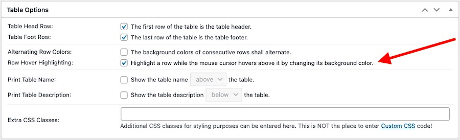 Table Options panel emphasising the Row Hover Highlight-enable option
