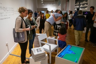 """Visitors gathered at the Washington University in St. Louis Des Lee Gallery for an opening reception for """"The Cabinet of Ordinary Affairs"""" featuring work by Cheryl Wassenaar, associate professor of art in the Sam Fox School of Design & Visual Arts, and WUSTL 1999 alumna Stephanie Ellis Schlaifer in downtown St. Louis Friday, Sept. 7, 2018. Photo by Sid Hastings / Washington University"""