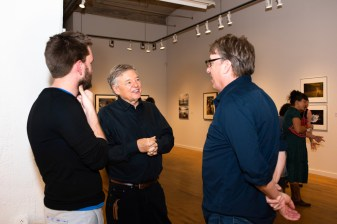 Stan Strembicki, center, with exhibit attendees at the Stan Strembicki & Alumni Art Show Opening Reception, Des Lee Gallery, St. Louis, MO