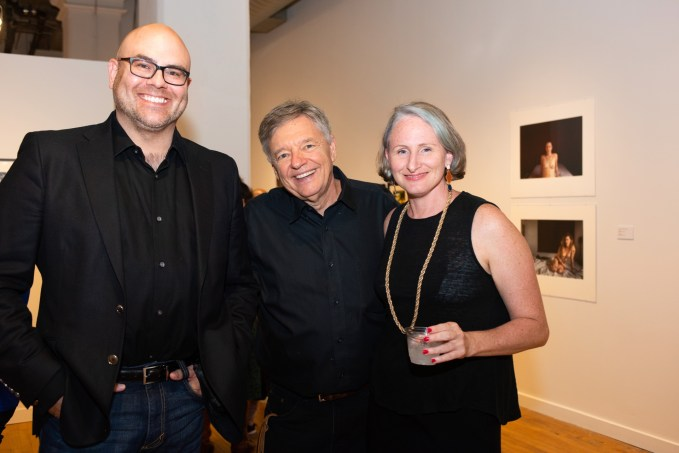 From left, Alumni Scott Clinton and Stan Strembicki, with exhibit attendees at the Stan Strembicki & Alumni Art Show Opening Reception, Des Lee Gallery, St. Louis, MO