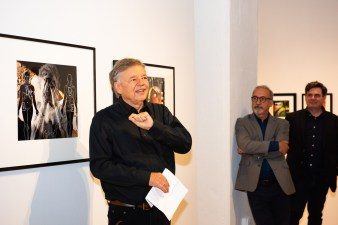 Stan makes remarks at the Stan Strembicki & Alumni Art Show Opening Reception, Des Lee Gallery, St. Louis, MO