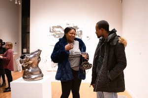 """Lola Ogbara talks about her piece """"Dime Piece"""" at the Parabola: Assembly exhibition, Des Lee Gallery, Washington University, St. Louis, MO"""