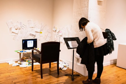 """Medical Student Bo Yang views """"Living Room (Authorization for Disclosure)"""" by Lacy Murphy at the Parabola: Assembly exhibition, Des Lee Gallery, Washington University, St. Louis, MO"""