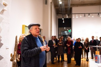 Stan Strembicki, Retired faculty member of Sam Fox School, gives remarks at the Robert C. Smith Retrospective Exhibit Opening, Des Lee Gallery, St. Louis, MO