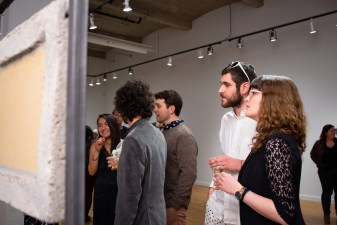 """Antonio Leone talks with Kelly Kries about """"Bunkers 49, 50, and 52"""" by Merry Sun, BFA Show 2, Des Lee Gallery, Washington University, St. Louis, MO"""