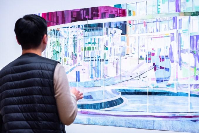 "Takura Suzuki views ""Perception Play Around the Bisected Circle"" by Yeeun Kang on display at the Parabola: Extraterrestrial Exhibit, Des Lee Gallery, Washington University, St. Louis, MO"