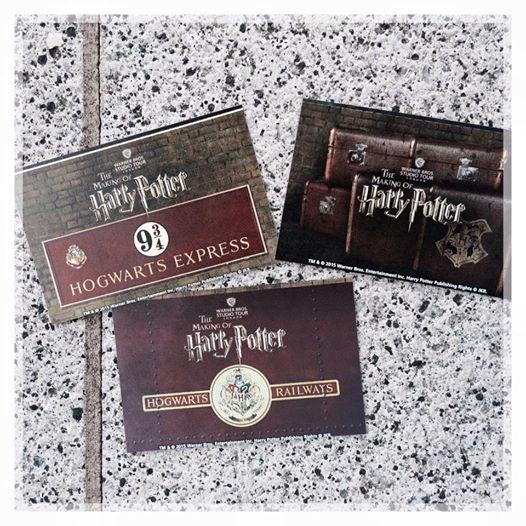Photos de trois tickets d'entrée pour les studios Harry Potter à Londres