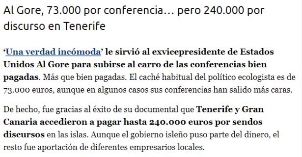 ¿Cuánto cobraba Al Gore por Conferencia? ¿Y en Tenerife?
