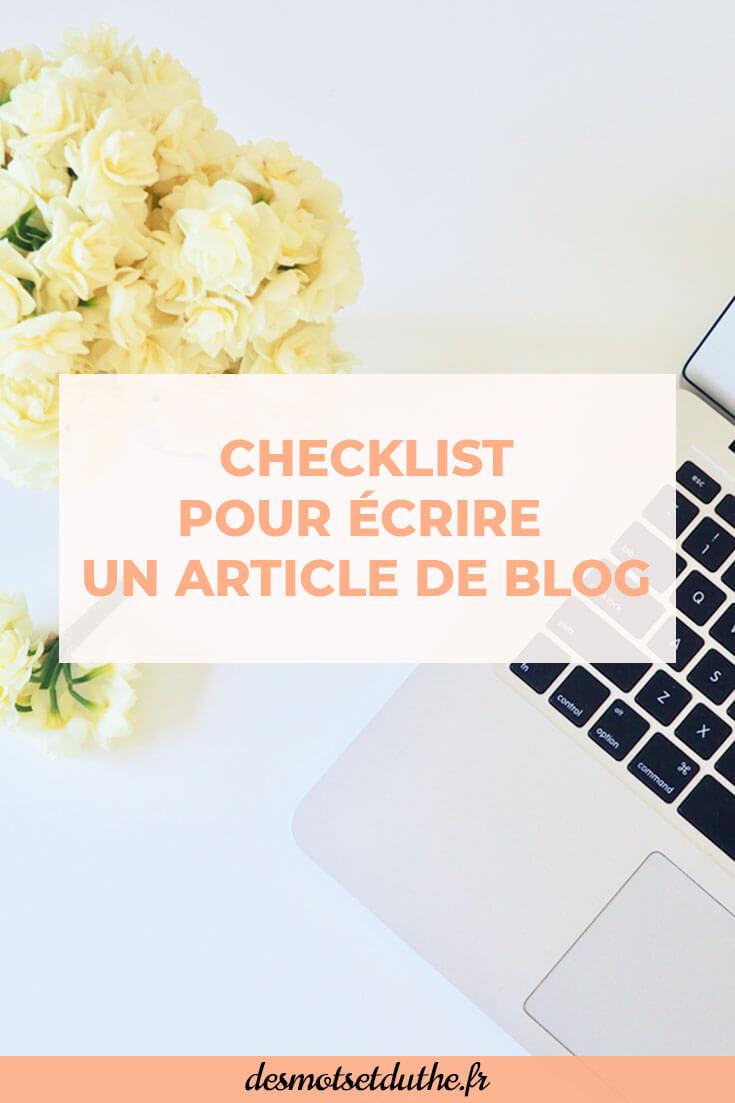 Des Mots et Du Thé : checklist article de blog