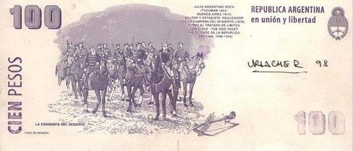 """Hugo Urlacher, El Escarabajo - Las placas grabadas para la moneda argentina de Hugo son el reverso del billete de cien pesos, """"La Campaña al Desierto"""""""