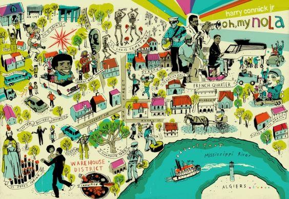 Mapa Ilustração Nova Orleans