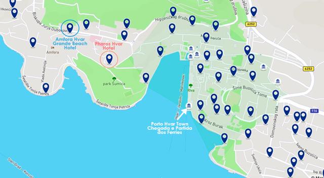 O que fazer em Hvar, mapa de Hvar Town