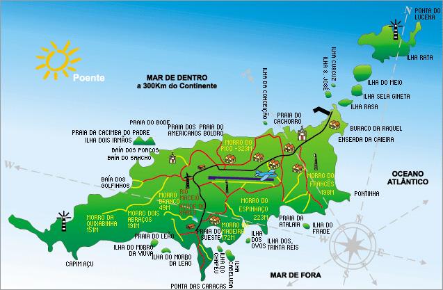 O que fazer em Fernando de Noronha; Mapa de praias de Noronha