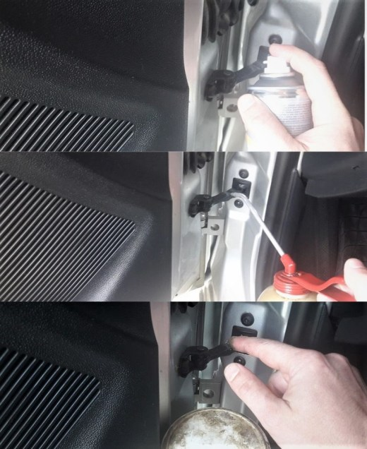 how-to-fix-squeaky-car-door-check-link-apply-lubricant-spray-oil-lithium-grease