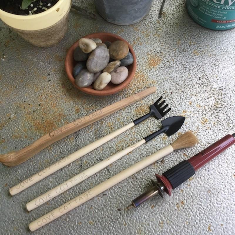 Wood Burned Terrarium Tools